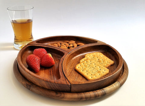 Three sections wooden snack set 11""