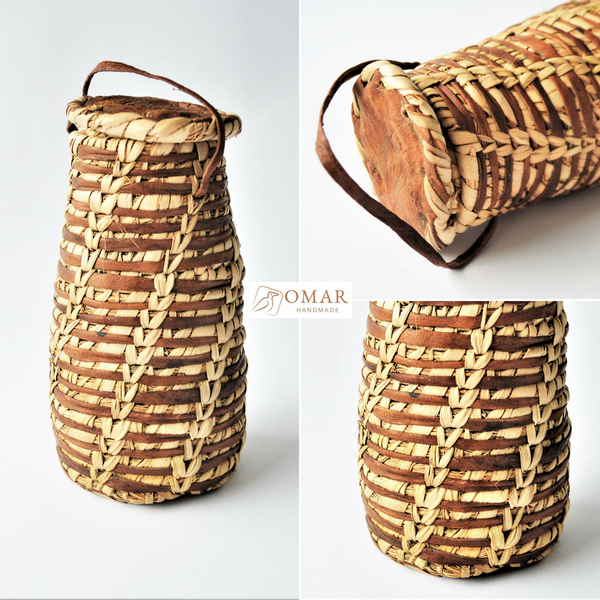 Moroccan rustic basket, Leather & palm leaf jewelry pot