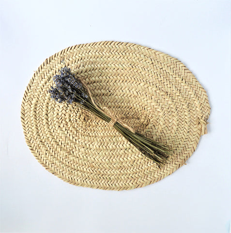 Woven palm wicker placemat, centerpiece mat, hot pot pad (2 pieces)