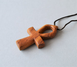 Wooden Ankh key pendant necklace