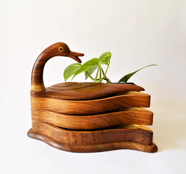 Hand-carved Swan Tray & Decor