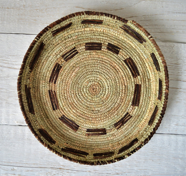 Handwoven Decor Plate, Tribal palm leaves and straw basket