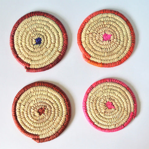 4 Woven Coasters, Woven beverage coasters