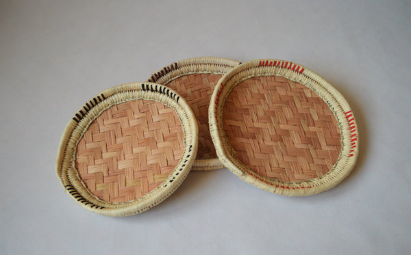 Unique round palm straw tray (with fabric decoration)
