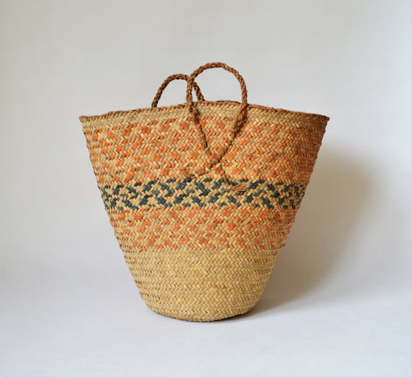 Vintage basket for rustic decor orange color
