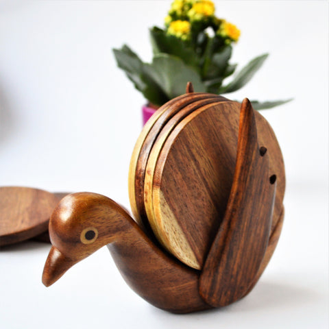 Hand-carved BIRD coaster set