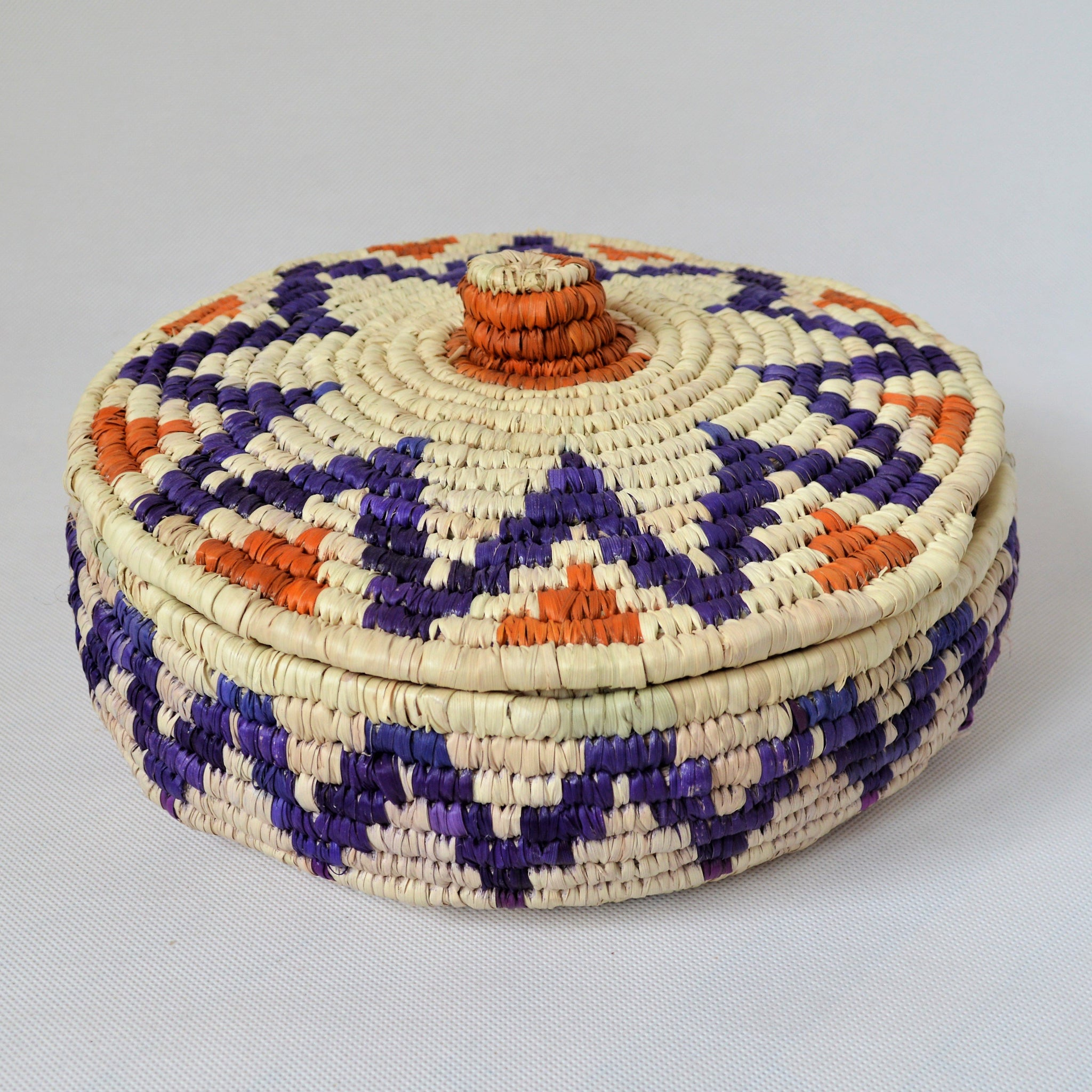 Nubian lidded fruit bowl, African basket blue star