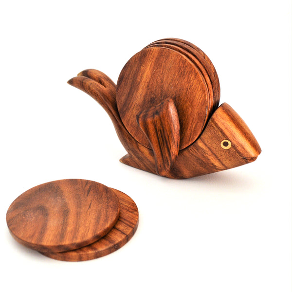 Fish wooden coaster set