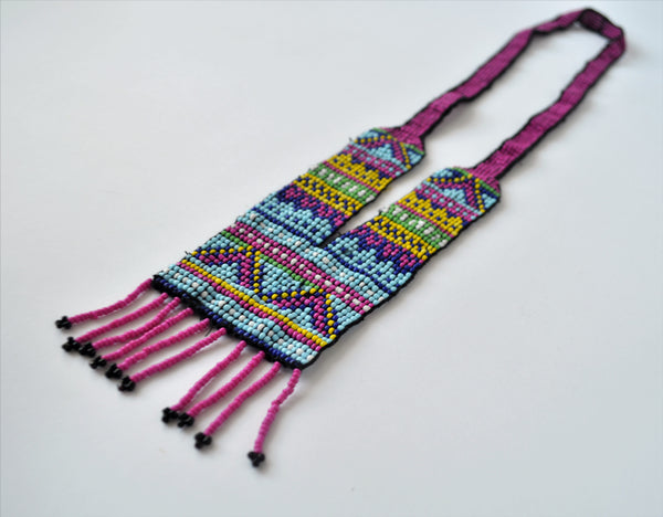Beaded tribal necklace, Egyptian boho necklace, Purple beaded necklace