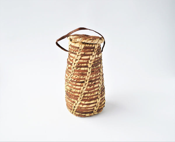 Moroccan rustic basket, Leather & palm leaf jewelry pot, Traditional handmade, Woven basket, Wicker basketwork, boho decor basket, Egypt