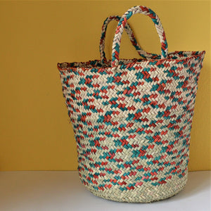 Fresh market basket, Palm leaf wicker, Palm leaves french basket