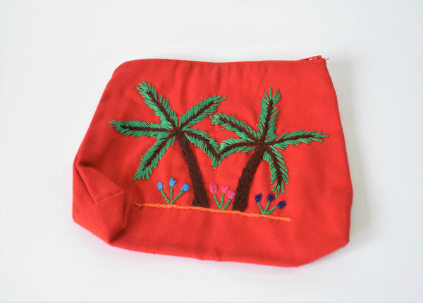 Ethnic embroidered purse palm tree, Cotton pouch
