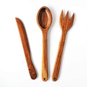 Wooden kitchen set (spoon fork and butter knife)