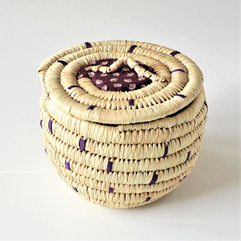 Wahat Palm leaves Wicker Makeup basket
