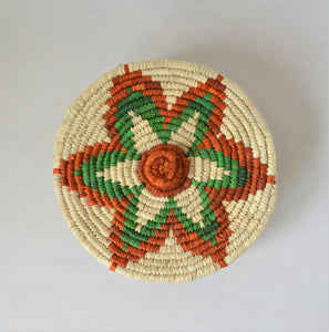 Nubian lidded bowl green and orange star