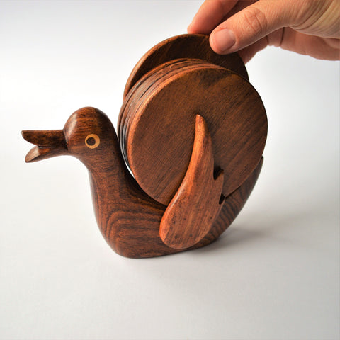 Hand-carved DUCK coaster set