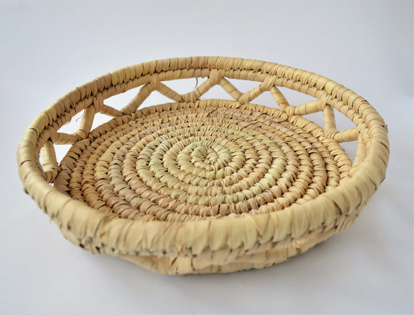 Decorative woven platter, Bread and fruit platter