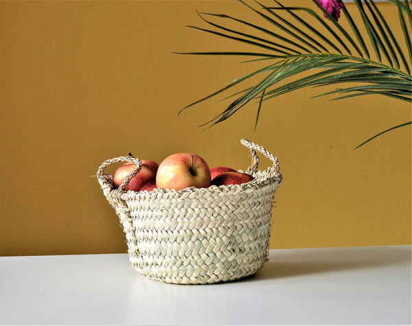 Baseeta Palm leaf basket, Rustic wicker bowl