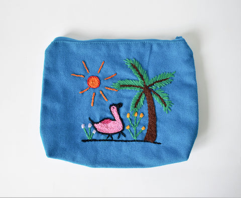 Embroidered purse, Duck embroidery bag