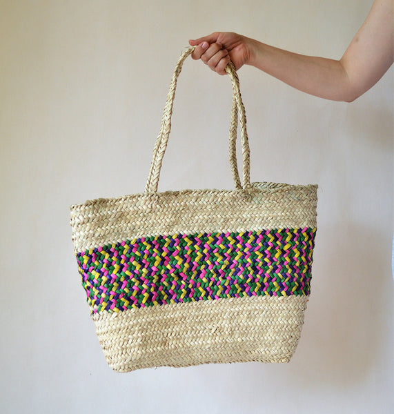 Rainbow Beach bag, Straw bag