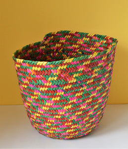 African colors basket, Pink green wicker bin, Colorful home, Bohemian