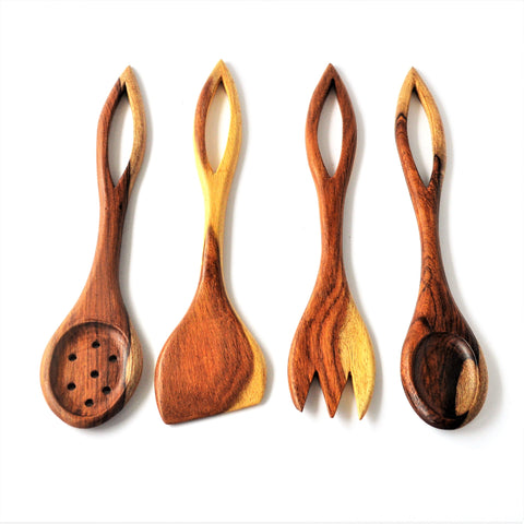 Tree leaves rosewood kitchen spoons set (4 pieces)