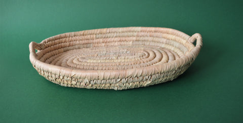 Oval bread platter palm leaves Omar Handmade Egyptian baskets
