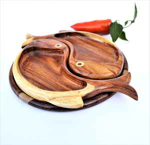 Double fish hand-carved platter 10""