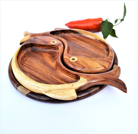 Double fish hand-carved Rosewood platter 10""