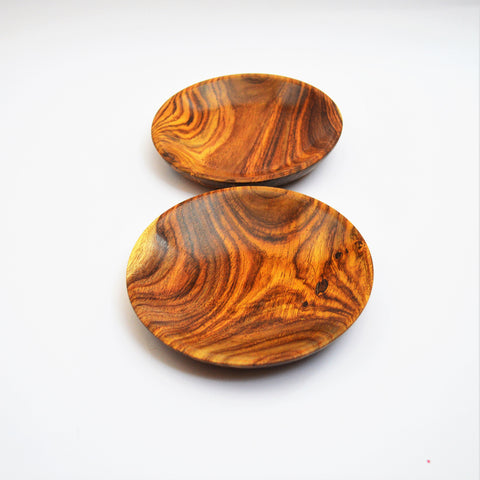 Pair of hand-turned old rosewood dishes