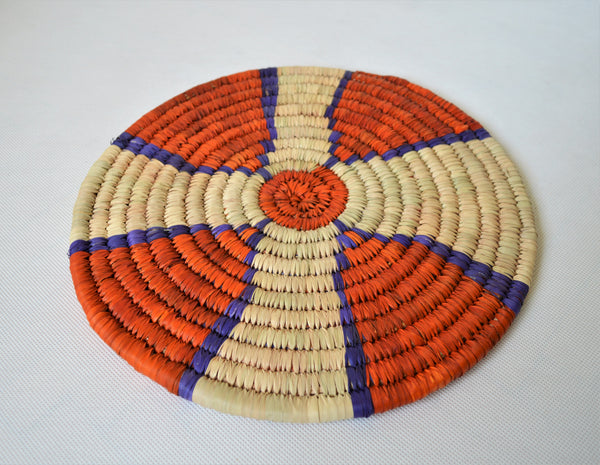 Large Nubian trivet (P3029) Orange and blue wall decor