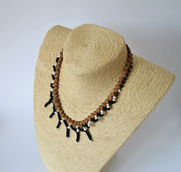 Mexican style necklace, braided leather with black and white beads