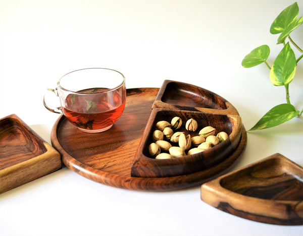 Wooden platter set with four separable bowls and a tray