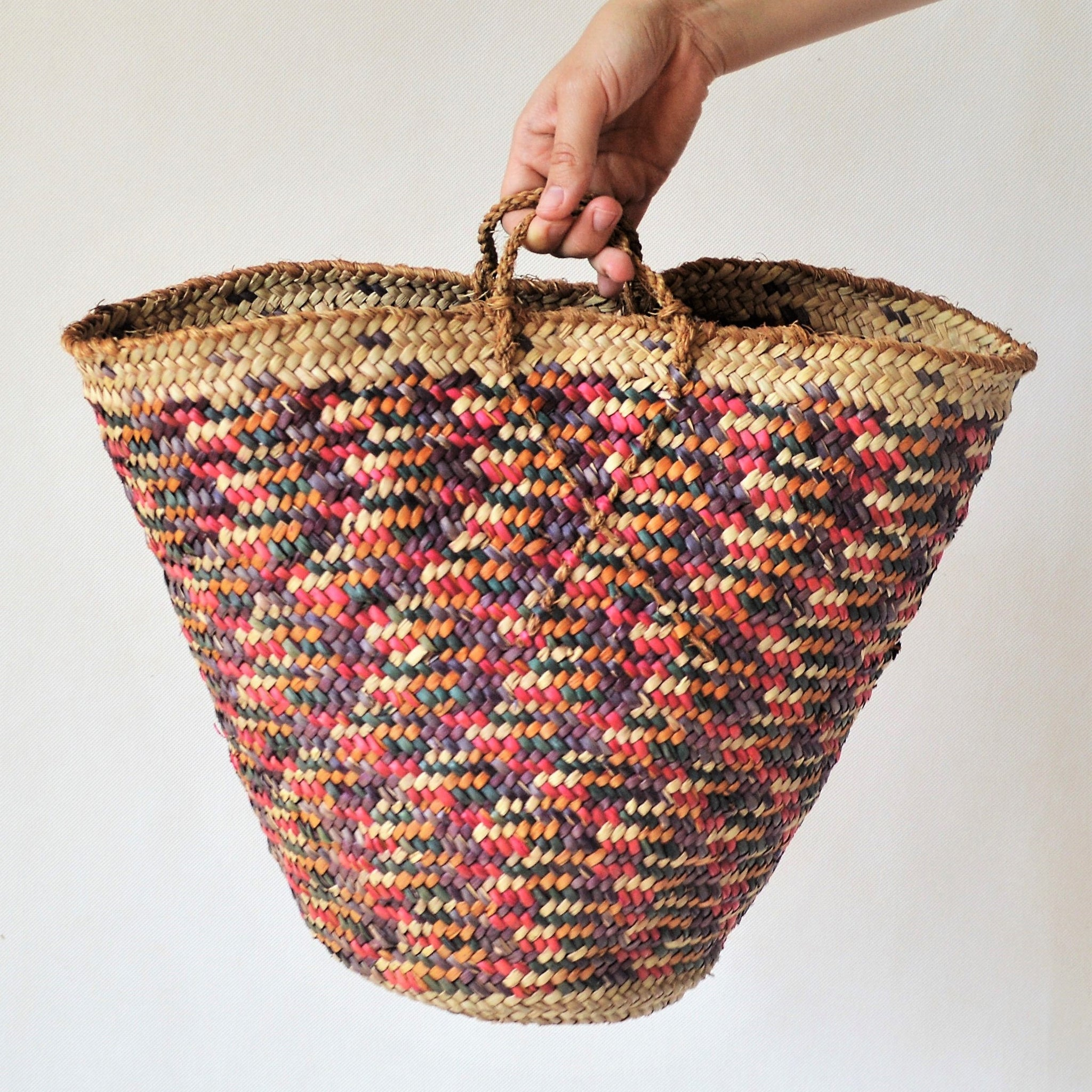 Vintage beach bag, Colorful straw bag