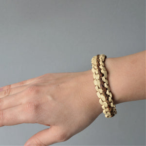 Bohemian minimal leather & palm leaves bracelet