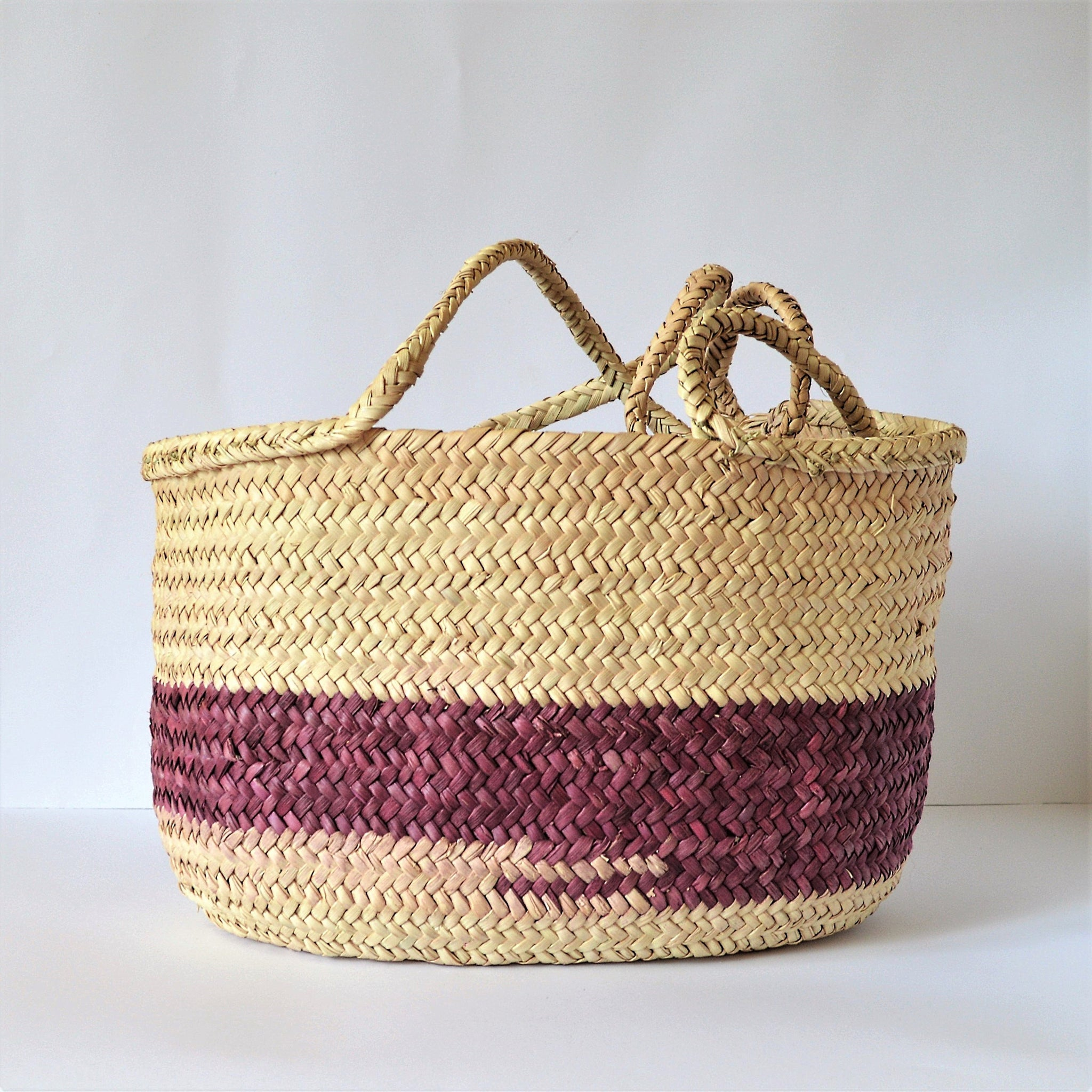 Straw Bag Purple, straw basket