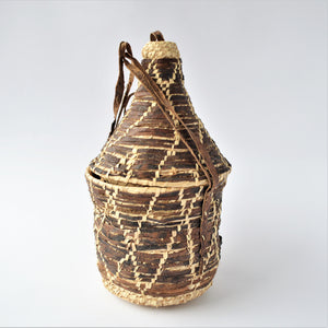 African hanging leather basket, Palm leaf and leather trinket storage