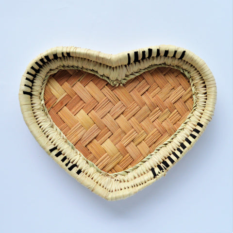 Heart shape Palm leaves hand woven Catchall tray