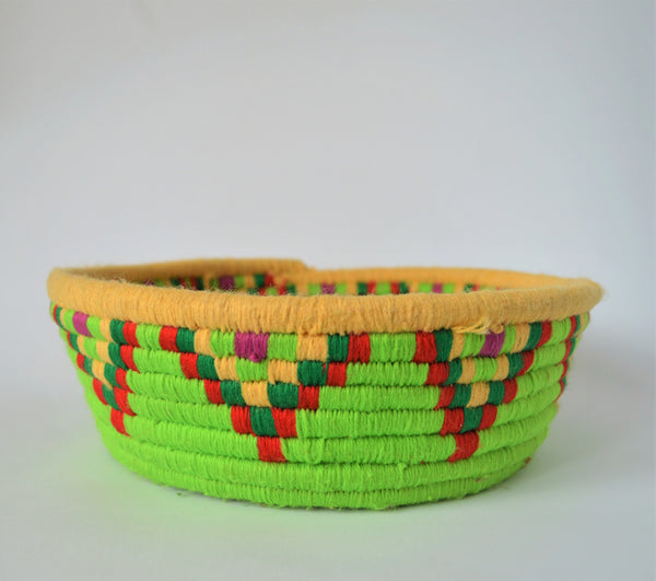 Nubian Egyptian wool palm fruit plate (Green)