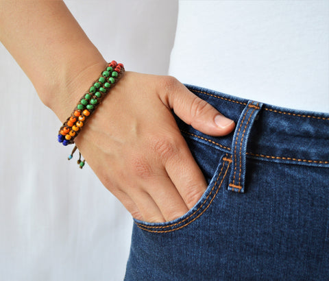 Leather bracelet with colorful beads