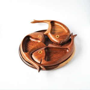 3 fish wooden decor plate, nuts tray, catchall