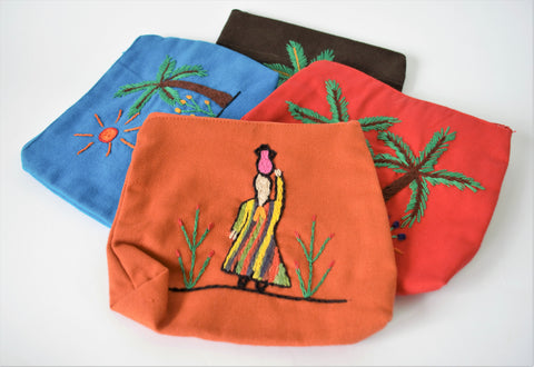Hand embroidered purse, Folklore art, Eco cotton bag (Woman carrying water)