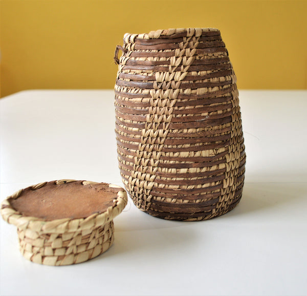 Leather & palm leaves tribal jewelry basket