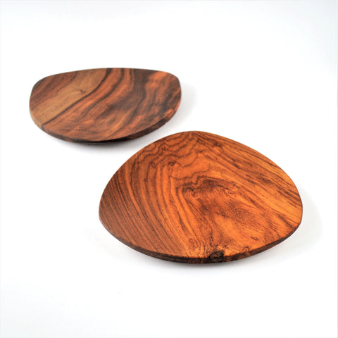Triangle hand-turned wooden plate
