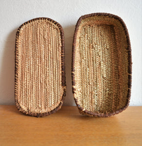 Rectangle jewelry box, Woven straw and leather basket with lid