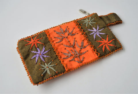 Hand embroidered woman wallet, Orange color