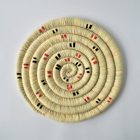 Wahat trivet, Woven palm leaf wicker, Retro, hot pot Coaster, Kitchen hotpad