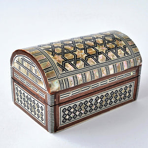 Inlaid mother of pearl jewelry wooden box