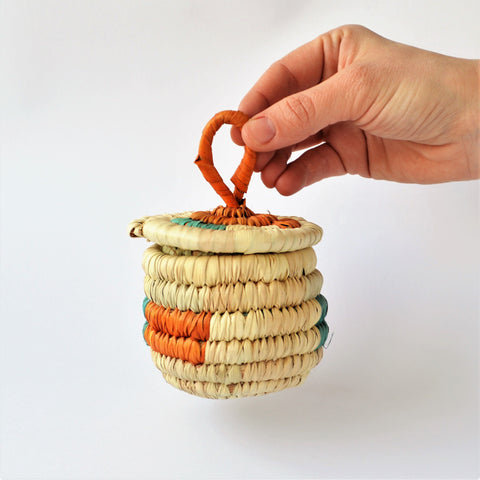 Handmade jewelry wicker basket from palm leaves