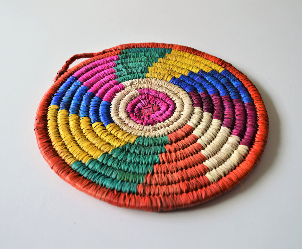 Colors Fan trivet, Palm leaf wicker coaster (Design 137)